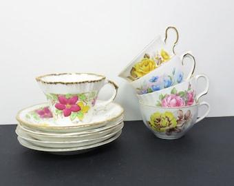 Vintage mismatched floral tea cups and saucers - Instant collection - Unique party favors - Wedding favors bridal-party favors