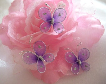 "50 pcs Lavender Nylon Butterfly Party Favors, Wedding Decor, Christening, Baby Shower, Table Scatters, 1"" /25 mm"