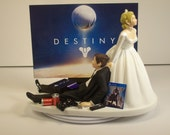 Sale Gamer Addict Funny Wedding Cake Topper Bride and Groom Video Game Junkie Dest Play 4