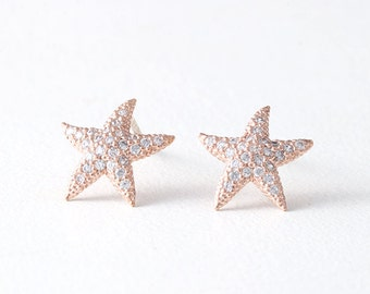 Swarovski Rose Gold Starfish Stud Earrings Silver Post