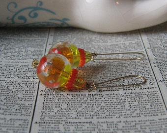 Handmade Pale Yellow and Orange Clear Vintage Plastic Bead Earrings