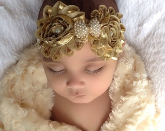 Baby Girl gold rosette lace headband, Baby Headbands,Girl Headbands.