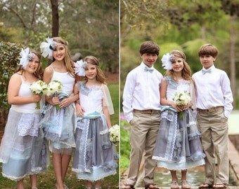 Boho Flower Girl Dress, gray and blue Lace Flower Girl Dress