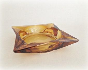 Mod Square Glass Ashtray Topaz Amber