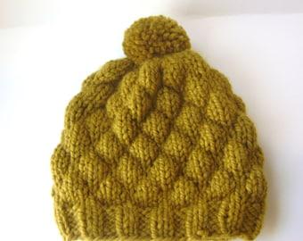 Knit Pom Pom Hat, Wool Beanie for Men or Women in Olive Green, Chunky Winter Hat