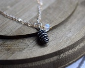 Mixed Metal Necklace, Pinecone Pendant, Sterling Silver and Gold Jewelry, Moonstone