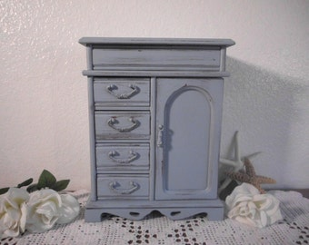 Blue Grey Jewelry Box Rustic Shabby Chic Distressed Organizer Beach Cottage French Country Home Decor Birthday Christmas Gift For Her