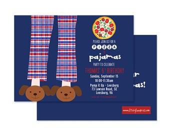 PIZZA and PAJAMAS Birthday Invitation, Blue and Red, Printable, Boys Pajama Party, Libby Lane Press