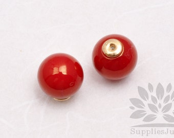 E300-02-RD// ABS Red 12mm Round Earring Clutch Only, 4 pcs