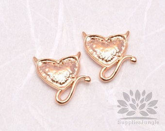 P576-RG// Rose Gold Plated Tail Heart Pendent, 4 pcs