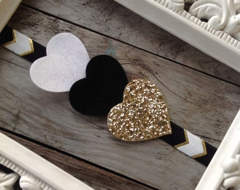 Black Gold and White Chevron Headband glitter Heart Headband Baby Girl Headbands Photography Prop Newborn Headbands Girls Headband Toddlers
