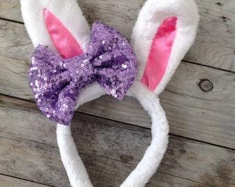 Easter Bunny Ears Baby Headband Baby Bow Headbands Easter Headbands Photography Props Girls Headbands Girls Bunny Ears Lavender Hair Bows