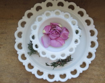 SALE//Vintage MILKGLASS 2-Piece Candy Dish And Large Serving Plate Wedding Decor