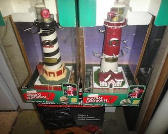 Mr.Christmas Barnegat NJ & Cape Hatteras NC Christmas Lighthouses motion sound
