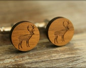 Standing Deer / Elk Cuff Links, Laser Cut Wood