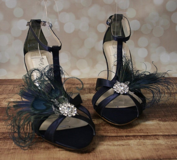 Custom Wedding Shoes Navy Blue Wedge Wedding Shoes With A