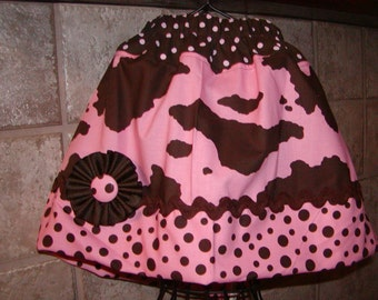 Girls Twirl Skirt Infant toddler Custom..Pink Cow N Dots..sizes 0-12, 1/2, 3/4, 5/6, 7/8, 9/10 Bigger Available