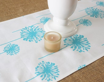 Blue Table Runner Table Cloth Runner Aqua Blue Runner Premier Prints Dandelion Table Runner