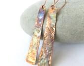 Copper Earrings, Long Copper Earrings, Flame Painted Earrings, Textured Copper, Rustic Earrings, Copper Anniversary Gift, UK Seller
