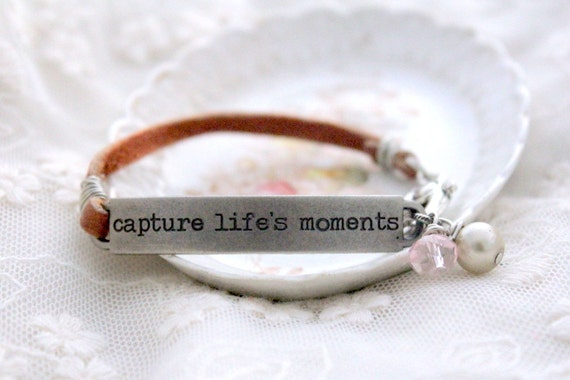 leather bracelet inspirational quote capture life 39 s by