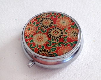 Pill box Jewelry case with Japanese handmade washi paper (mum) with gift envelope