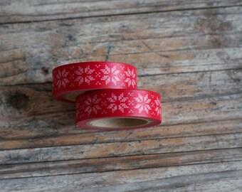 Red Christmas Pattern Masking Tape - Version 2