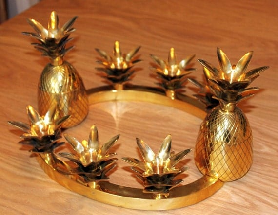 Vintage Brass Pineapple centerpiece candle holders. great Hollywood Regency style.