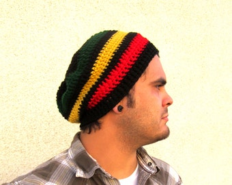 Mens Reggae Slouchy Hipster Crochet Hat Stripe Slouch Beenie Beanie Gifts For Guys