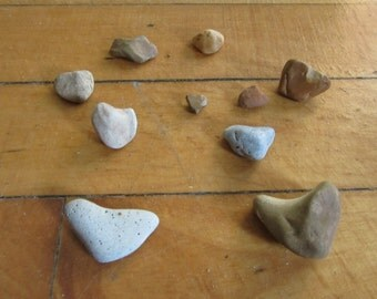 Lot of 10 Natural Stone Shaped Hearts Lake Michigan Art and Craft Supplies