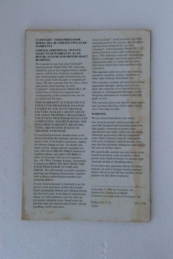Cuisinart DLC-8F Instructions Manual and Recipes Book