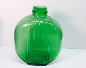 Green Botttle Owens Illinoise 1930 Sunsweet Prune Juice Ribbed Water Jar