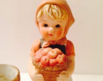 Peasant Girl Planter Basket of Apples Vintage Hummel Style Ceramic Hand Painted Ceramic