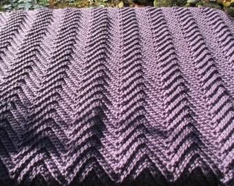 """Crochet Ripple Baby Blanket Lavender  33"""" x 36"""" - Infant Afghan"""