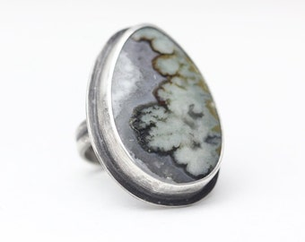 Prudent Man Agate, Sterling Ring, Blue Turquoise White, Unisex, Size 6.5