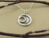 Eclipse Moon Pendant Small, Sterling Silver with Chain