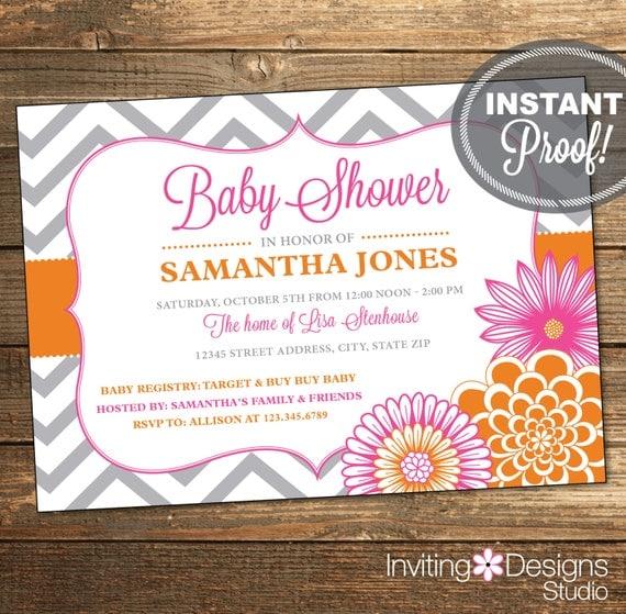 Chevron Baby Shower Invitation - Pink Orange