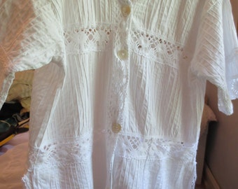 1960s ALLOVER PINTUCKING and LACE Blouse or Swimwear Cover Up