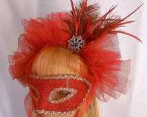 Masquerade Mask- Red Fascinator Masquerade Mask with Feathers