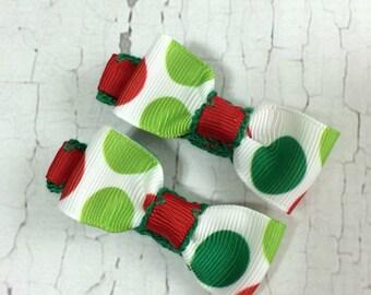 Christmas Polka Dot Hair Bows - NEW Small Hairbows - Tuxedo Bow - No Slip Grip- Baby, Toddler. Girls