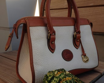 White Dooney & Bourke Vintage Classic Satchel All Weather Leather