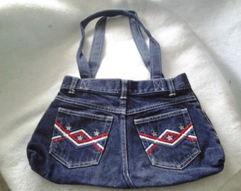 Recycled  Blue Jeans Purse Red, White and Blue