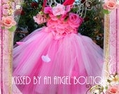 Rosetta rose fairy with rose petals for Halloween costume,flower girl dress,toddler costume, birthday dress,pink tutu