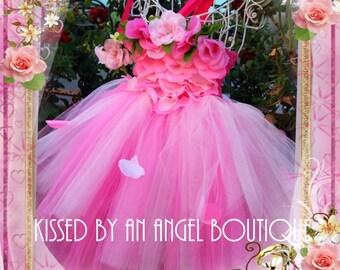 Rosetta rose fairy with rose petals for Halloween costume,flower girl dress,toddler costume, birthday dress,pink tutu