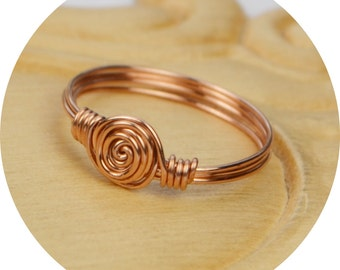 Wire Wrapped Ring- Rose Gold Filled Wire with Dainty Swirl - Any Size- Size 4, 5, 6, 7, 8, 9, 10, 11, 12, 13, 14