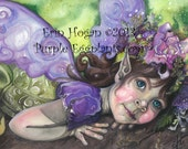 Lavender fairy child 8x10 watercolor and ink professional art print
