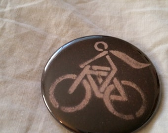 """Super Cyclist Cape Bicycle Bike Black and White Cycling Pinback Button 2.25"""" inches"""