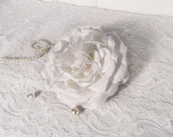 Silk Rose Bridal Headpiece ~ Ivory Flower Hair Clip
