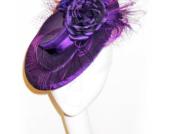 Purple Silk Hat ~ Saucer Fascinator Hat