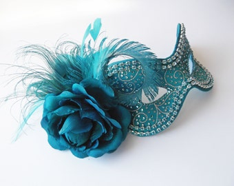Blue Masquerade Ball Mask - Turquoise and Silver