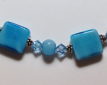 """Handmade 19"""" AQUA Blue Art Glass Squares NECKLACE with Silver and Crystal Bead Accents and Silver Hook Closure"""